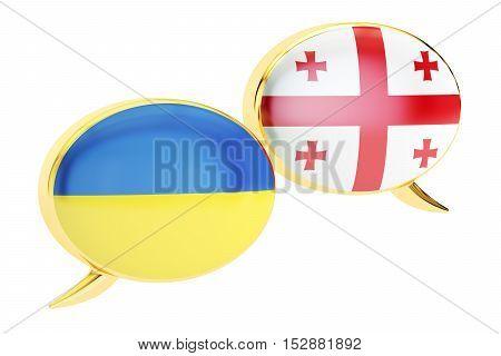 Speech bubbles Georgian-Ukrainian conversation concept. 3D rendering