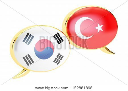 Speech bubbles Korean-Turkish translation concept. 3D rendering