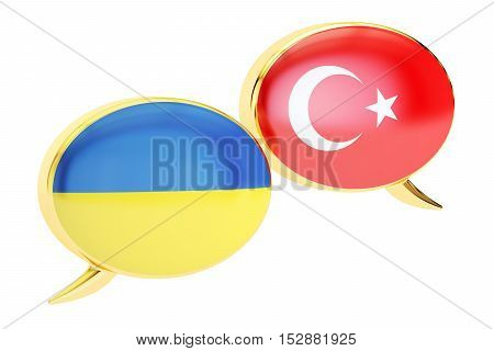 Speech bubbles Turkish-Ukrainian conversation concept. 3D rendering
