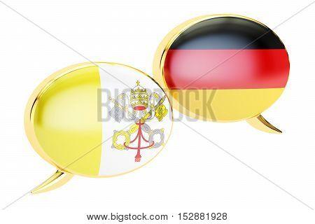 Speech bubbles Vatican-German conversation concept. 3D rendering