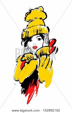 Vector fashion illustration of a girl in winter clothes.