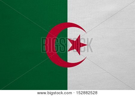 Algerian national official flag. African patriotic symbol banner element background. Correct colors. Flag of Algeria with real detailed fabric texture accurate size illustration