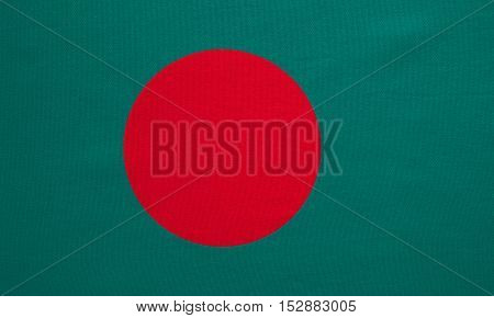 Bangladeshi national official flag. Patriotic symbol banner element background. Correct colors. Flag of Bangladesh with real detailed fabric texture accurate size illustration