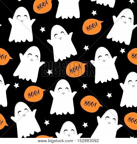 Halloween pattern with cute ghost stars and text clouds. Vector seamless background.