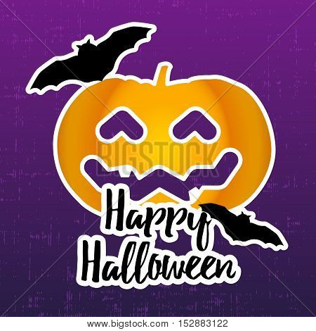 Happy halloween sticker with pumpkin and bats. Vector background.