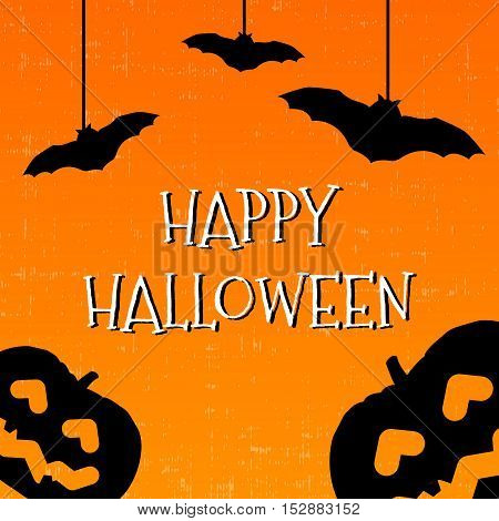 Happy halloween greeting card with pumpkins and bats. Vector illustration.