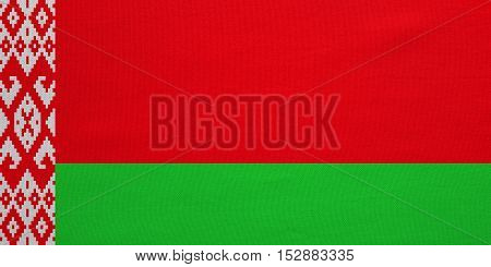 Belarusian national official flag. Patriotic symbol banner element background. Correct colors. Flag of Belarus with real detailed fabric texture accurate size illustration