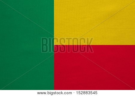 Beninese national official flag. Patriotic symbol banner element background. Correct colors. Flag of Benin with real detailed fabric texture accurate size illustration