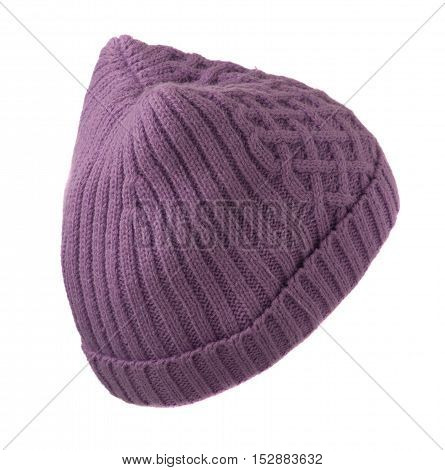 Women's Knitted Hat Isolated On White Background.purple Hat