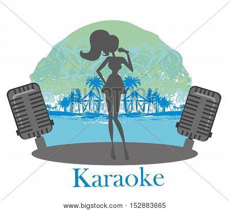 girl silhouette and Karaoke night icon , vector illustration