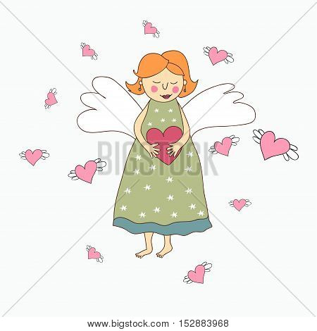 Cute cartoon angel with heart in hand on white background.