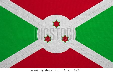 Burundian national official flag. African patriotic symbol banner element background. Correct colors. Flag of Burundi with real detailed fabric texture accurate size illustration
