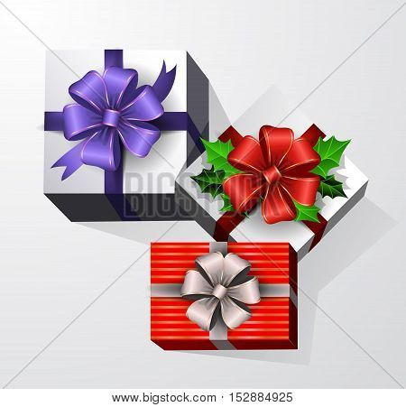 Three Gift boxes with ribbon and bow. Top view
