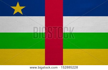 Central Africa national official flag. African patriotic symbol banner element background. Correct colors. Flag of the Central African Republic detailed fabric texture accurate size illustration
