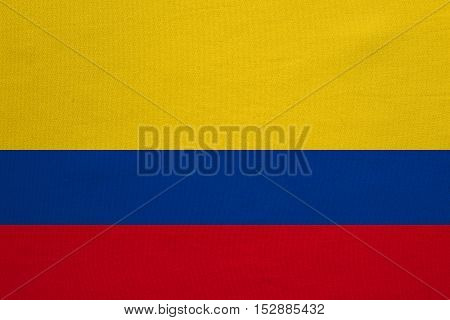 Colombian national official flag. Patriotic symbol banner element background. Correct colors. Flag of Colombia with real detailed fabric texture accurate size illustration