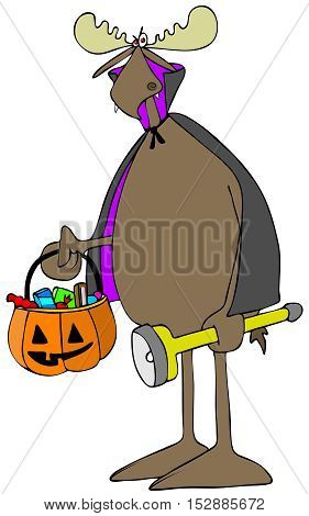 Illustration of a bull moose wearing a vampire costume and carrying a flashlight and a jack-o-lantern full of candy.