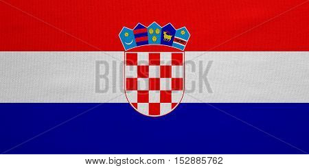 Croatian national official flag. Patriotic symbol banner element background. Correct colors. Flag of Croatia with real detailed fabric texture accurate size illustration