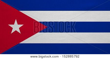 Cuban national official flag. Patriotic symbol banner element background. Correct colors. Flag of Cuba with real detailed fabric texture accurate size illustration