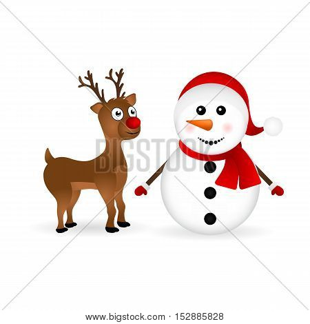 Snowman with reindeer standing on a white background, vector illustration