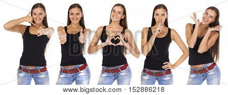 Collage of a young brunette woman with different signs, isolated on white background