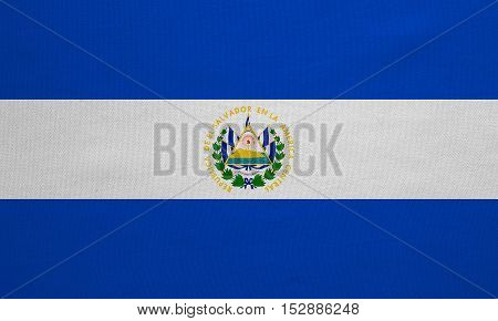 Salvadoran national official flag. Patriotic symbol banner element background. Correct colors. Flag of El Salvador with real detailed fabric texture accurate size illustration