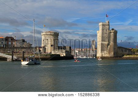 Medieval towers in La Rochelle, the French city and seaport located on the Bay of Biscay, a part of the Atlantic Ocean
