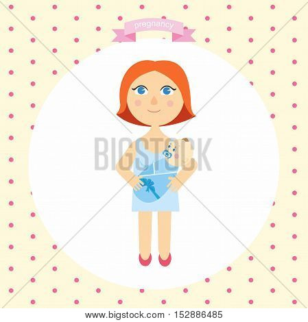 illustration of a woman with a newborn cartoon. series pregnancy