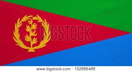 Eritrean national official flag. African patriotic symbol banner element background. Correct colors. Flag of Eritrea with real detailed fabric texture accurate size illustration