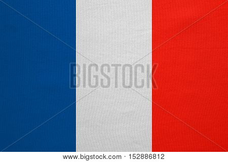 French national official flag. Patriotic symbol banner element background. Correct colors. Flag of France with real detailed fabric texture accurate size illustration