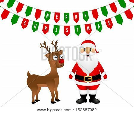 Santa Claus and Christmas reindeer are standing on a white background  garland of colored greeting flags, vector illustration