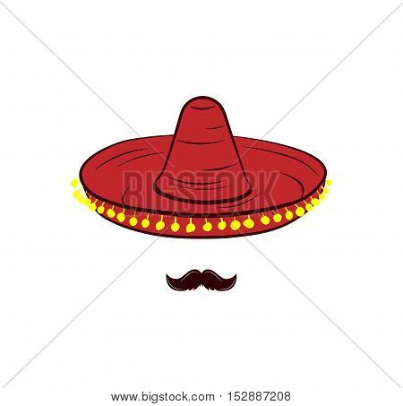 Sombrero and Mustache. Mexico Hat. Traditional Mexican Clothing. An Isolated Object. Vector Illustration
