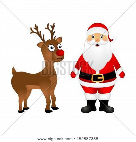 Santa Claus and Christmas reindeer are standing on a white background, vector illustration