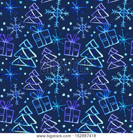 Seamless pattern with gift box, Christmas tree and snowflake.Sketch.Watercolor hand drawn illustration. Dark blue background.