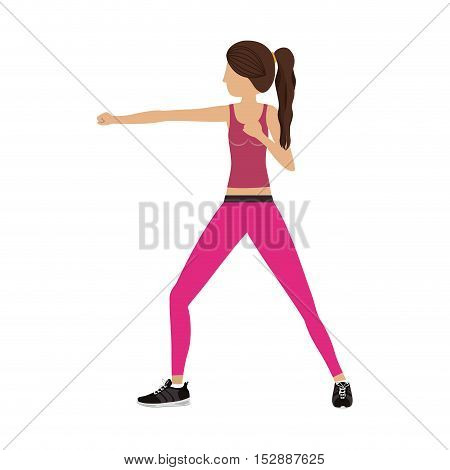 silhouette color woman martial arts standing fist vector illustration