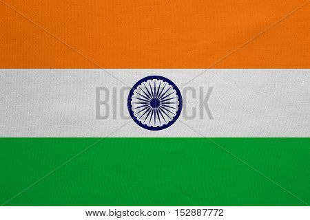 Indian national official flag. Patriotic symbol banner element background. Correct colors. Flag of India with real detailed fabric texture accurate size illustration