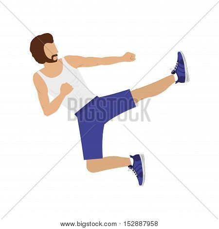 silhouette color man martial arts flying kick vector illustration