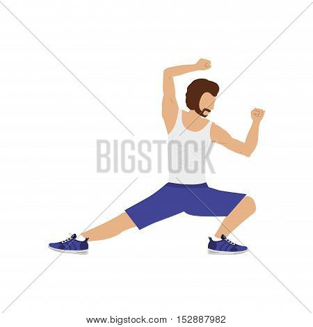 silhouette color man martial arts kick down vector illustration