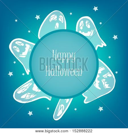 Happy Halloween card with scary ghost stars and text field. Vector illustration.