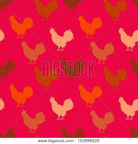 Seamless polka dot pattern with color silhouetted rooster. New year. Vector background.