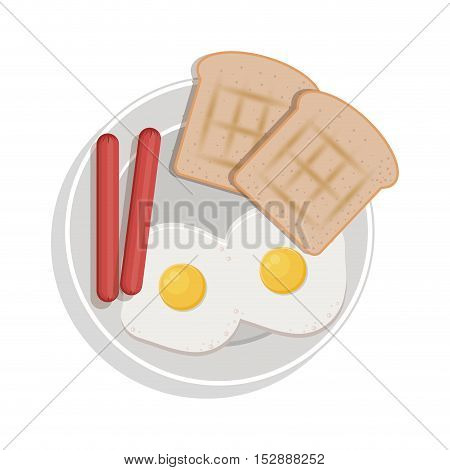 food plate with eggs bread sausace vector illustration