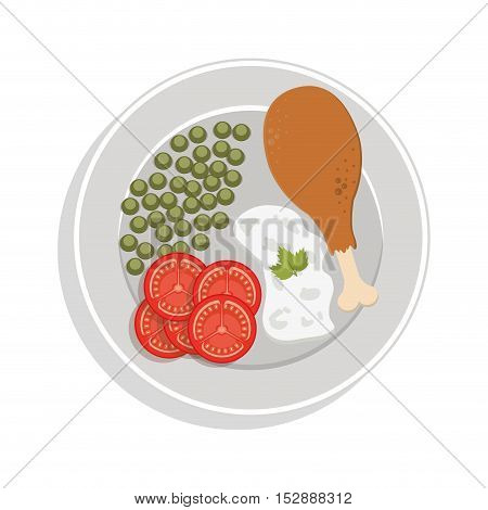 food plate chicken thigh with peas sliced tomato rice vector illustration