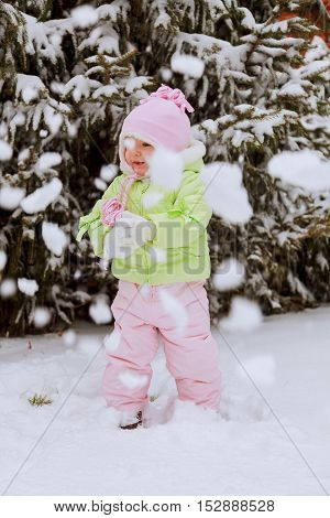 Little Girl Playing With Snow In Winter, Kids  Activities