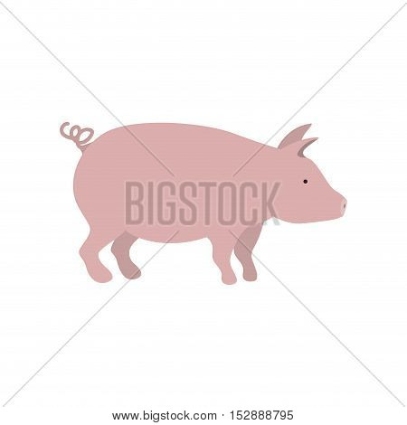 silhouette color with pink pig vector illustration