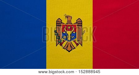 Moldovan national official flag. Patriotic symbol banner element background. Correct colors. Flag of Moldova with real detailed fabric texture accurate size illustration
