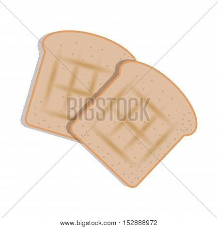 silhouette color with sliced bread vector illustration