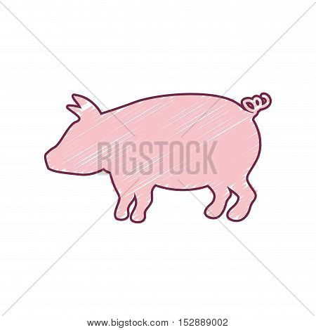 silhouette pig with color strokes vector illustration
