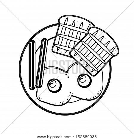 silhouette gray scale plate with eggs bread sausace vector illustration