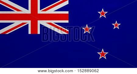 New Zealand national official flag. Patriotic symbol banner element background. Correct colors. Flag of New Zealand with real detailed fabric texture accurate size illustration