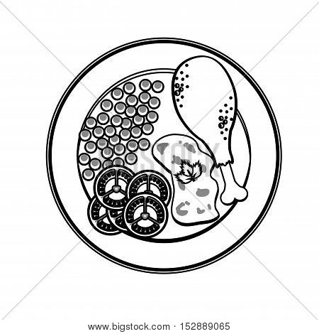 silhouette gray scale plate chicken thigh with peas sliced tomato rice vector illustration