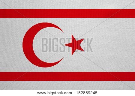 Northern Cyprus national official flag. TRNC patriotic symbol banner element background. Correct colors. Flag of Turkish Republic of Northern Cyprus real fabric texture accurate size illustration